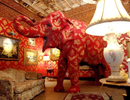 banksy open mouth elephant living room