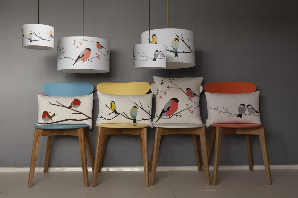 Lorna Syson Bird print lamp shades and cushion