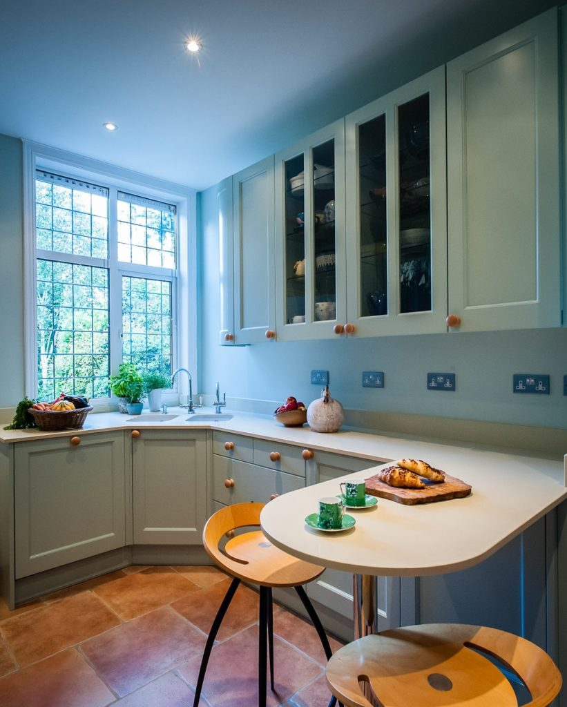 Bright kitchen with wooden cabinets