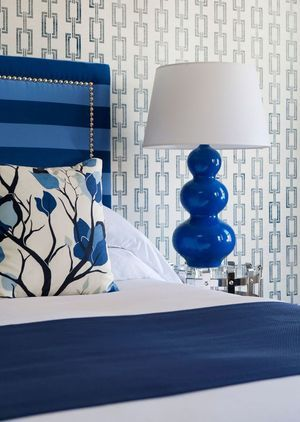Blue lamp and bed