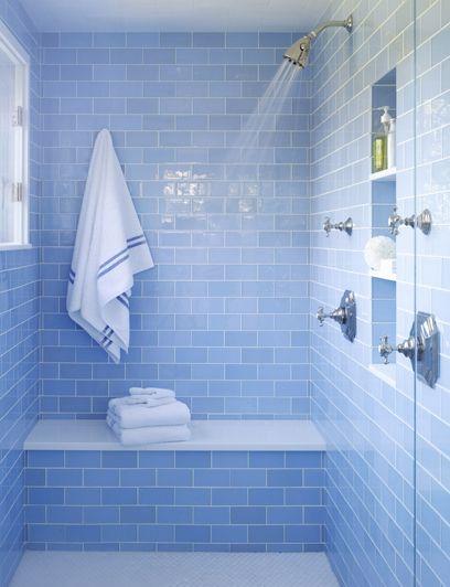 Blue brick tiled shower room