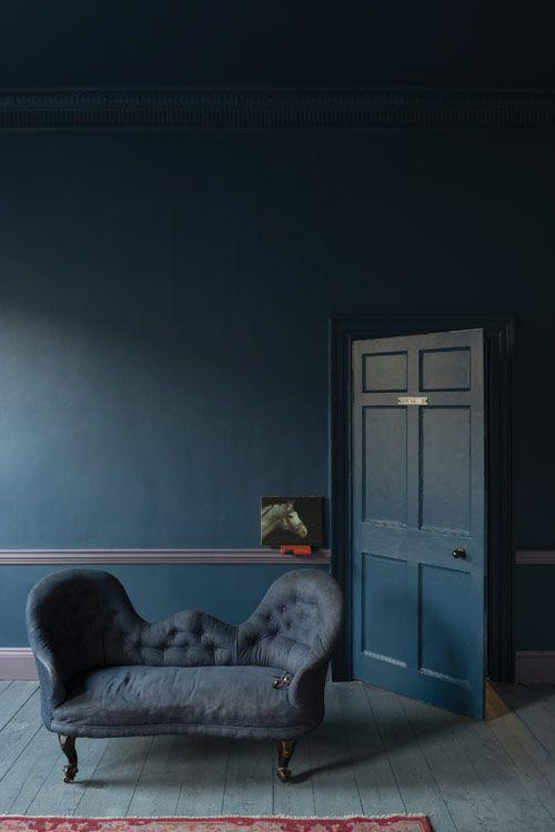 Dark blue monotone room