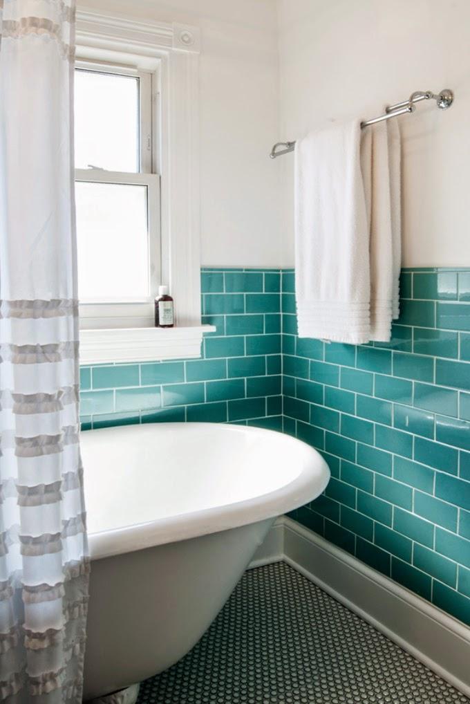 Gloss brick tiled bathroom