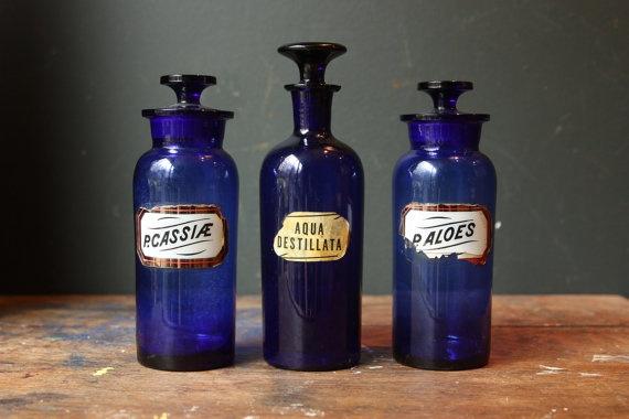 Blue vintage glass bottle