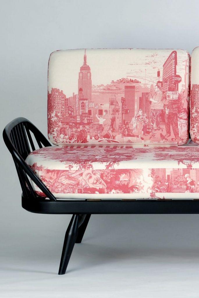 New York Print textile on sofa