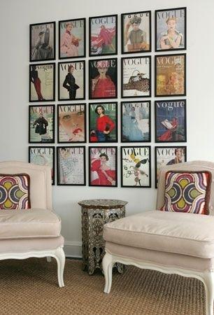 framed vogue magazine wall art installation