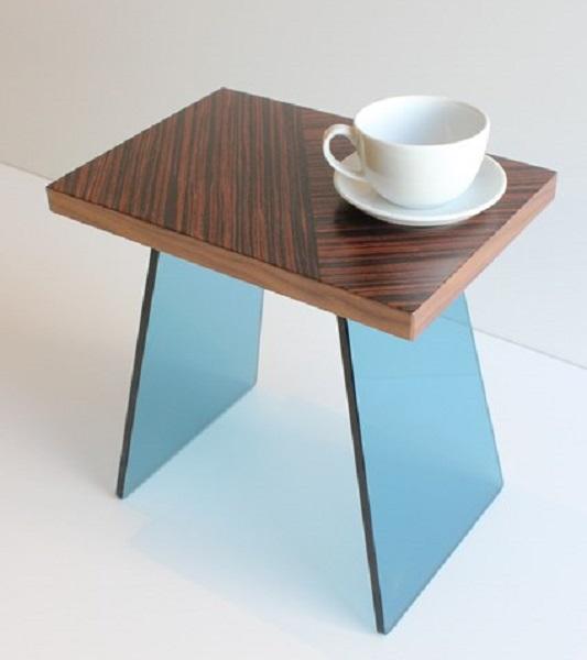 Paul Case Blue Glass legged Vetro side table