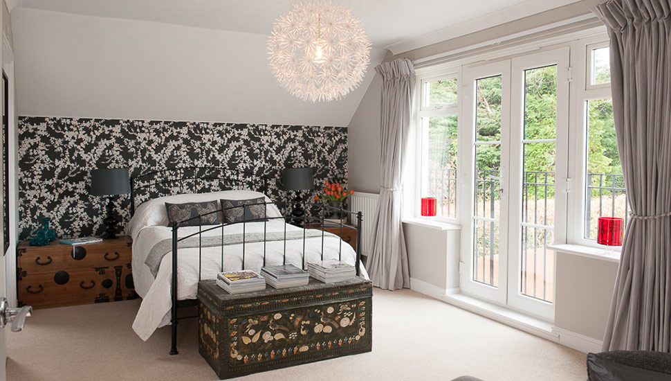 Floral feature wall bedroom