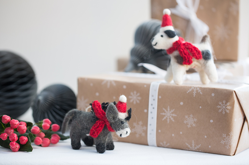 felt donkey and dog Christmas decoration on present