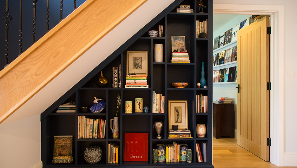Under stairway bookcase storage display cabinet