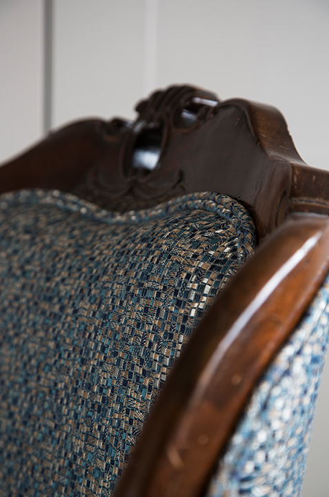 blue mosaic textile upholstered arm chair