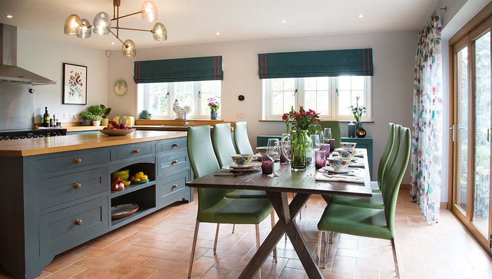 Modern country kitchen dinning room with dressed table