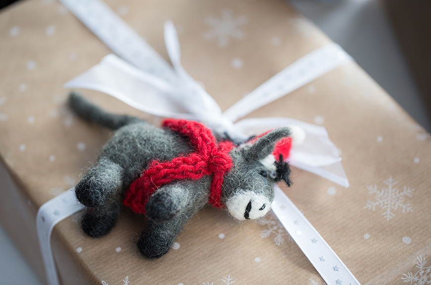 felt donkey Christmas decoration