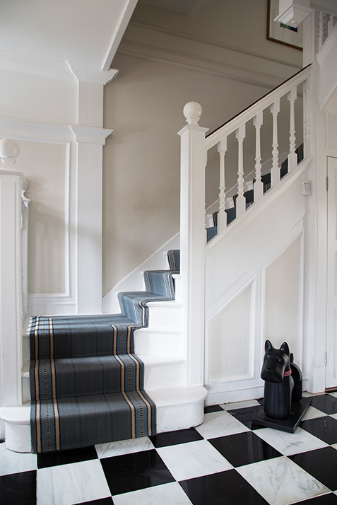 black and white entrance hallway