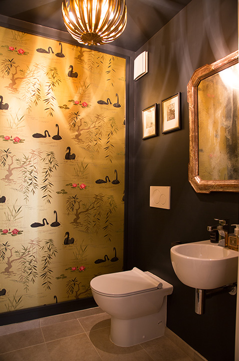 Bathroom WC Japanese inspired wallpaper with swans