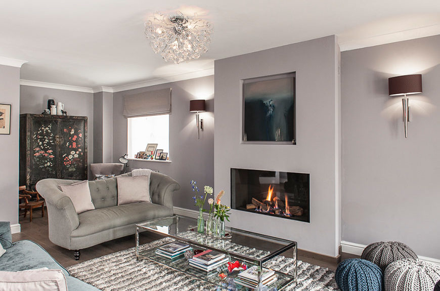 living room with fireplace combing compatible textures