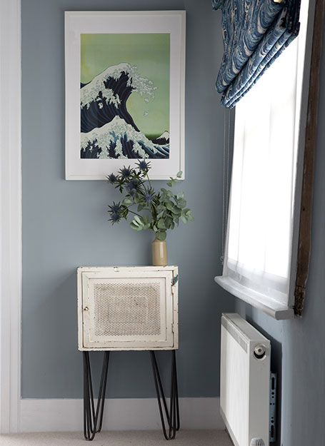 Hallway with ocean wall print
