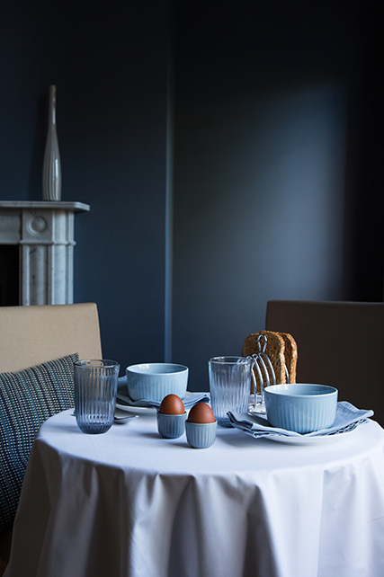 Hammershøi Tumblers in Indigo, Hammershøi Bowls in Sky Blue and Hammershøi Egg Cups in Marble set for breakfast on table