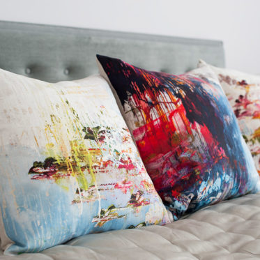 colourful dripping paint pillows