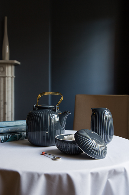 Pictured above Hammershøi Teapot, Jug and Bonbonniere in Anthracite on table
