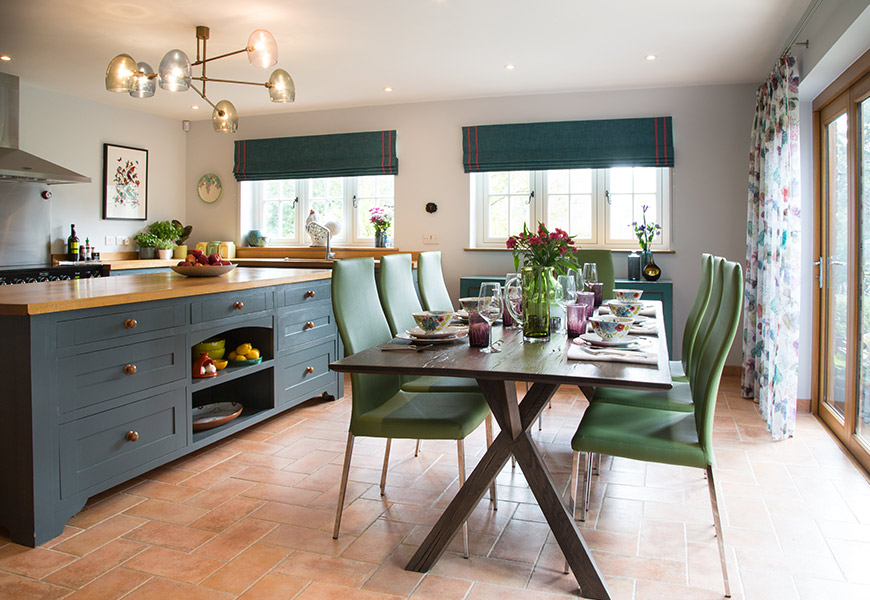dining room table in open plan kitchen