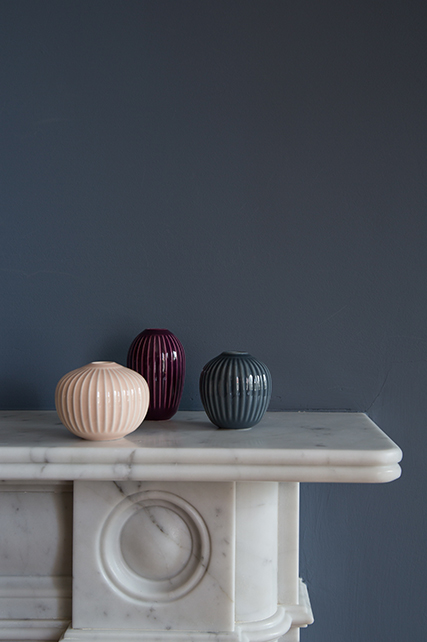 Pictured on right Hammershøi 3 pack of Miniature Vases in Rose on mantle piece