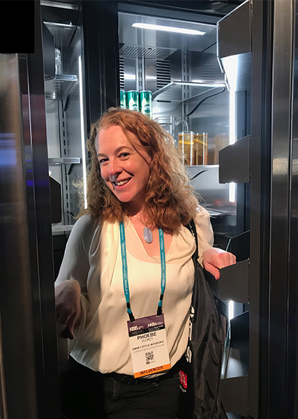 phoebe with kbis pass in large fridge