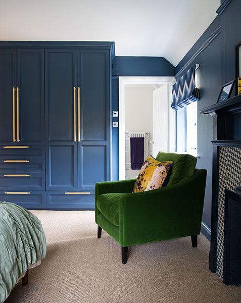 built in wardrobe with gold handles