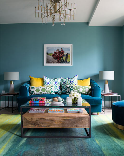 bright modern living room with teal colour scheme