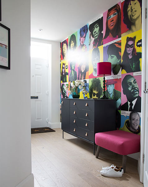 colourful pop art wall in white hallway