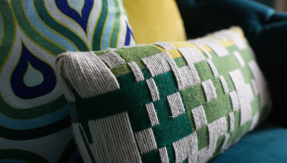close up of colourful cushions