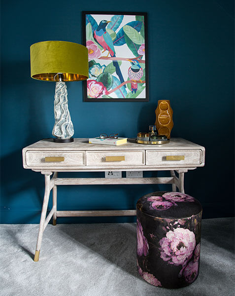 colourful and textured dressing table