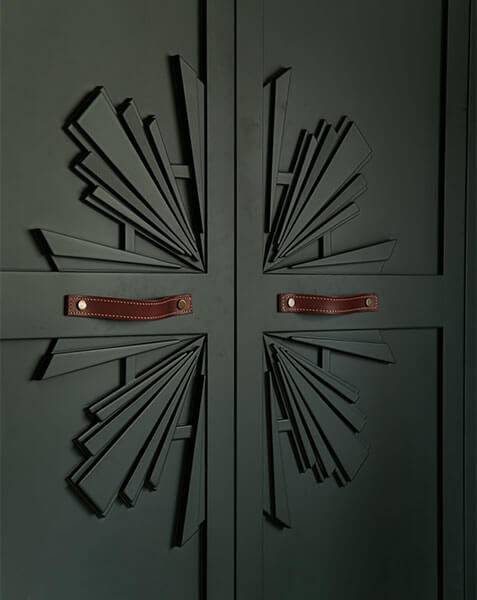 close up of art deco starburst on wardrobe