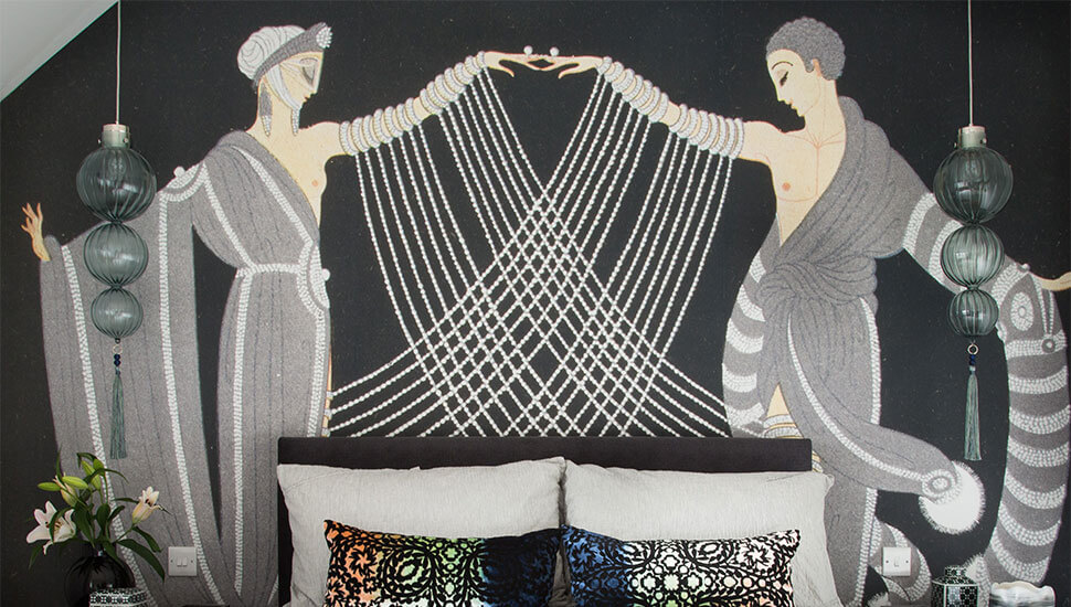 art deco mural behind bed