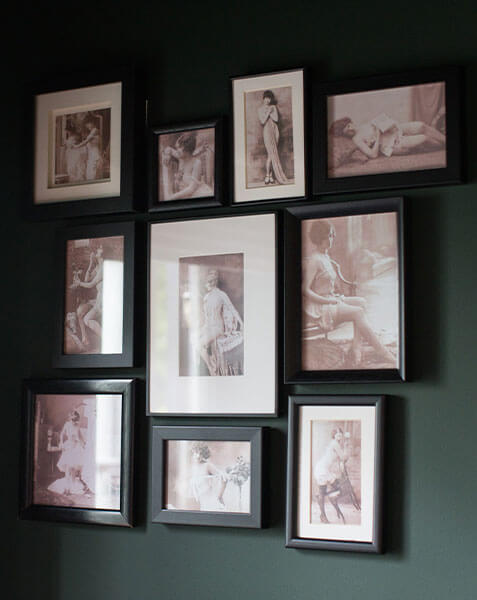 photo frames arranged on wall