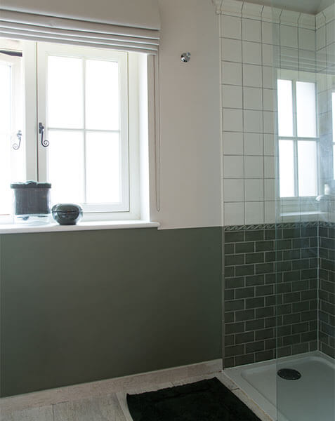 two tone wall and shower cubicle