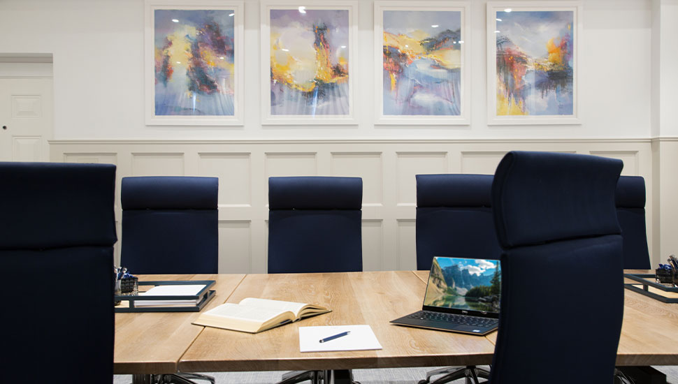 large conference table in light room