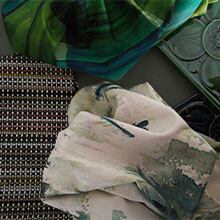 close up of different green fabrics