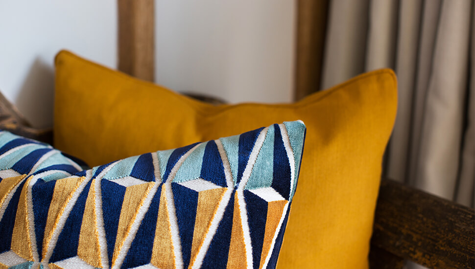 cushions in a modern, graphic print